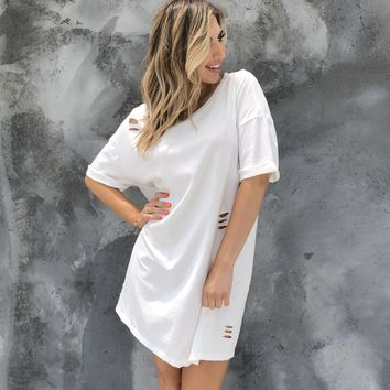 Distressed Cotton Tee Dress In White