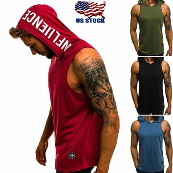Men's Sleeveless Vest T-shirt Tee Tank Tops Hooded Hoodie Bodybuilding Gym Sport