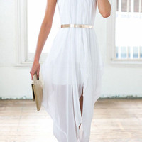 White Halter Sheer Chiffon High Low Dress