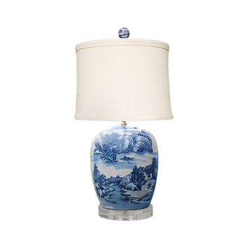 """Blue and White Blue Willow Porcelain Ginger Jar Table Lamp 27"""""""