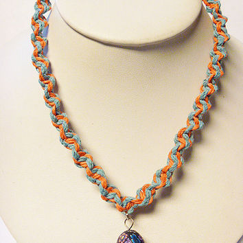 Orange Blue Hemp Necklace with Fimo Glass Mushroom handmade macrame jewelry    hippie  unisex