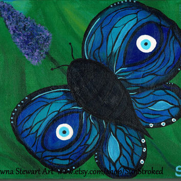 PRINT, Evil Eye Butterfly, abstract acrylic energy painting, Shawna Stewart art, Free shipping