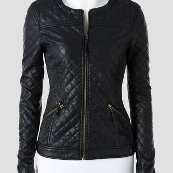 Love Token Quilted Faux Leather Jacket - Women | Stein Mart