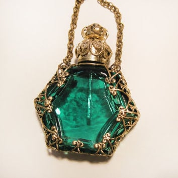 "Antique Miniature Czech Perfume Bottle  ""Bronze Turquoise"""