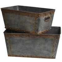 "Crestview Galvanized Metal Tubs., S: 20""H L: 22""H - CVTRA248"