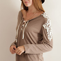 Lace Up Detail Top - Mocha