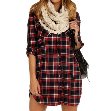 Sale-red Classic Plaid Tunic