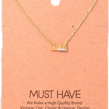 Must Have-Two Toned Mountain Necklace, Gold