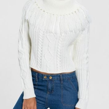 Turtleneck Cable Knit Tassel Sweater - White