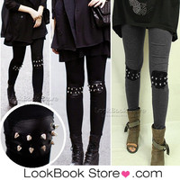 Lookbookstore Woman Punk Knee Rivet Studs Spike Faux Leather Patch Leggings Legwear Tights @lookbookstore #lookbookstore