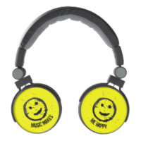 Cool Music Makes me Happy Smiley face Yellow Headphones