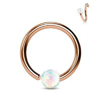 BodyJ4You Nose Ring Hoop Tragus Helix Earring Opal Stone Rose Gold Stainless Steel 16G Piercing Jewelry