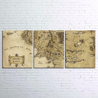 3 Panel World Map The Lord Of The Rings Map Print Canvas Wall Art Poster
