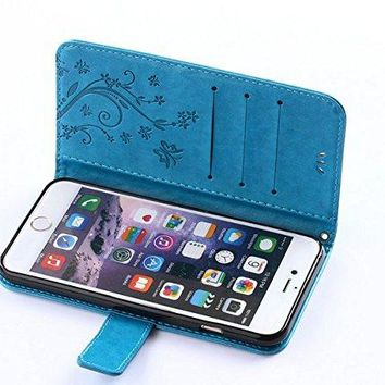 Auroralove iPhone 6/6s Handmade Bling Rhinestone Soft Slim Flip Stand Wallet Case for iPhone 6/6s 4.7 Flower Butterfly PU Leather Case for Girls Women-Blue