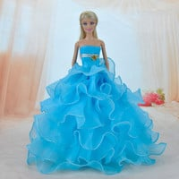 E-TING Handmade Dolls Clothes Blue Lace Wedding Dress Party Gown For Barbie Dolls