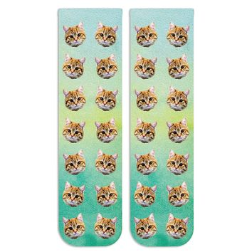 Custom Photo Socks with Cat Faces - Your Photos Digitally Printed All Over Our Crew Socks