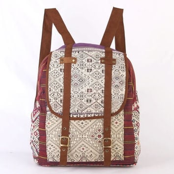 Antique Backpack Purse Vintage Handmade Tribal Needlework Hippie Boho Gypsy Style
