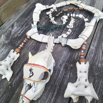 Bone Dream Catcher, Deer Skull Dreamcatcher, Tribal Dreamcatcher, Pagan Occult Wiccan Home Decor, Taxidermy Oddities,Huge Large Dreamcatcher