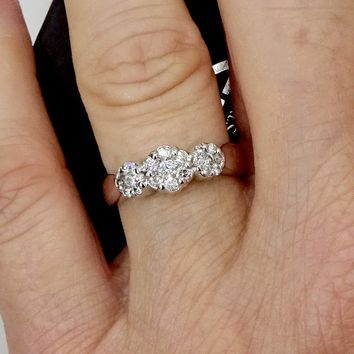 Vintage 14K White Gold ENDLESS DIAMOND RING Zales Touch Setting Cluster Diamond Ring Sz 7 Past Present Future Style