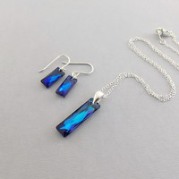 Necklace Set Queen Baguette Crystal Bermuda Blue and Sterling Silver