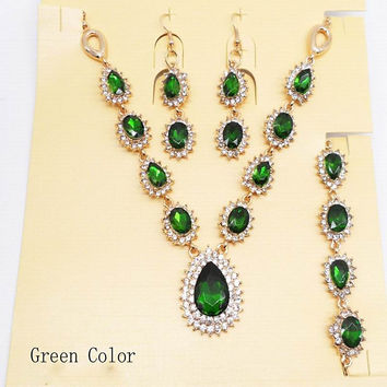 Green Red Blue Drop Crystal Jewelry Sets  Fashion Jewelry Wedding Bridal  Party Accessories Gift