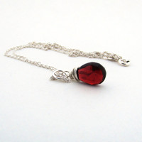 Garnet necklace, January birthstone necklace, dark red garnet gemstone, sterling silver, burgundy red, wire wrapped