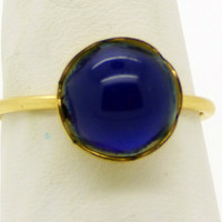 Oval Mood Ring 14k gold filled Bezel Flower Setting, Size 8