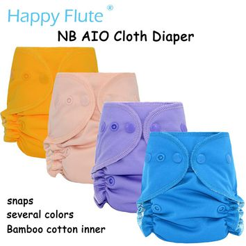 Happy flute Organic Cotton Newborn AIO Cloth Diapers Nappy With 3 Layers Of Micro Fiber Sewn Inside Insert