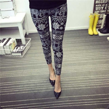 Women's Black Elephant Print Leggings