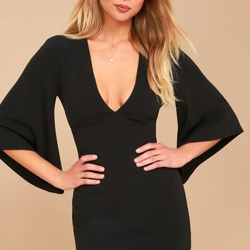 Glimpse of Glamour Black Bell Sleeve Bodycon Dress
