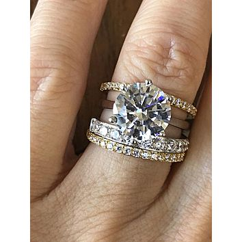 The Palm Desert,  A Perfect 3.9CT Round Cut Russian Lab Diamond Stacking Set