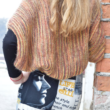 Knit Shrug Bolero-Boho wedding summer shrug-womens teenagers shoulders warmer-bridal sweater-country jacket-orange yellow-SIZE XS-S-M-L