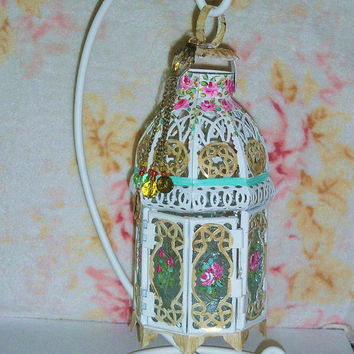 Bohemian Decor Lantern Hand Painted Pink Roses Boho Cottage Chic Tea Light Candle Holder with Stand