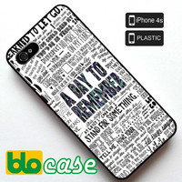 A Day To Remember Quotes iPhone 4S Plastic Case