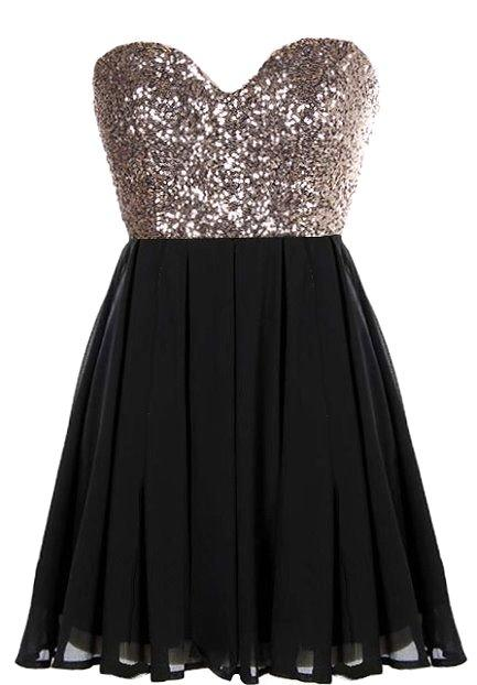 Glitter fever dress black gold sequin from rickety rack for Glitter new years dresses