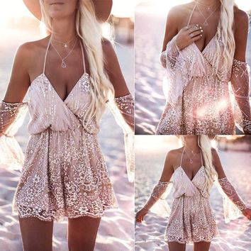 Sexy Women Lace Crochet Summer Beach Party Romper Off Shoulder Strappy Jumpsuit Shorts 6 8 10 12 14
