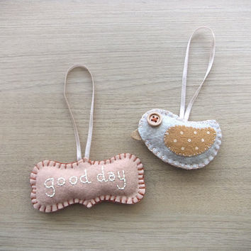 Christmas Ornament - Cute ornament - set of bird and Good day christmas ornaments -  READY TO SHIP
