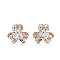 18K Rose Gold Clover Shaped Diamond Accent Earrings, Women Jewelry Gift (0.65 cttw, G-H color, SI1 Clarity) St Patrick's Day