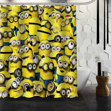 Best Nice Custom Minion Shower Curtain Bath Curtain Waterproof Fabric For Bathroom MORE SIZE WJY#8