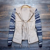 khaki - cargo jacket with aztec pattern knit sleeves
