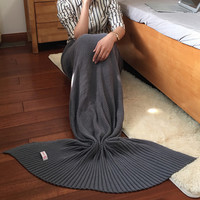 Knitted Mermaid Sofa Blanket Autumn&Winter HEAVY HIGH QUALITY Grey