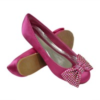 Girls Dressy Satin Slip-on Flat Casual Comfort Rhinestone Embellished Bow Fuchsia