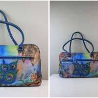 Biacci Hand Painted Colorful Genuine Leather Shoulder Bag or Purse in a Medium Size Slightly Used