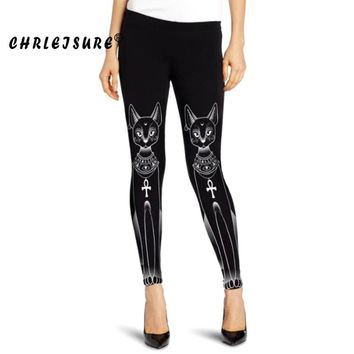 Cat Leggings 3D Print Black Gothic Punk Leggings