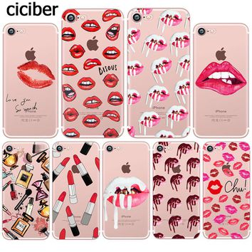 Makeup Sexy Kylie Jenner Lipstick Lips Girls Silicone Transparent Soft Mobile Phone Case for iphone 7 6 5S 6S Plus SE 5 Fundas