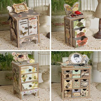 Eno Greeting DIY Mini Drawer Storage Scrapbooking Jewelry Vintage Mni Cabinet Tool Mini Chest Of Drawers Wooden Home Decoration