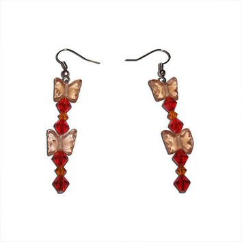 Orange and Red Crystal and Glass Earrings