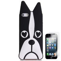 Wisedeal Lovely 3D Dog Cartoon Soft Silicone Case Cover Skin for Apple iPhone 5 With Screen Protection(Black)