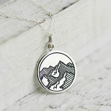 Mountain Necklace - Sterling Silver Etched Mountain Charm Necklace - Mountain Range Pendant - Hiking Necklace - Gift for Hiker -Ski Necklace