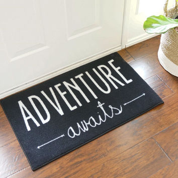 Adventure Awaits Welcome Door Mat Black/White